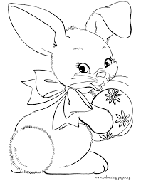 easter coloring pages rabbits and bunnies happy bunny holding a easter egg coloring page