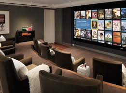 home decor black color wall with the contemporary home theater