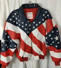 details about vintage michael hoban american usa flag embroidered leather jacket size small s