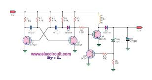 simple v to v boost converter circuit using bd dc converter 6v to 12v by bd679