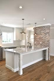 Exposed Brick Kitchen Open Brakfast Bar With Furniture Base Legs And Custom Brick