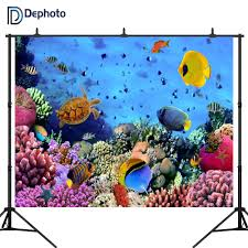 Fish Backgrounds Dephoto Underwater World Fish Coral Photography Backdrops