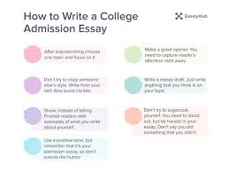 how to write a college admission essay essayhub tips on writing a college admission essay