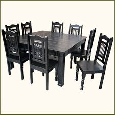 solid wood rustic square dining table chairs set for 8