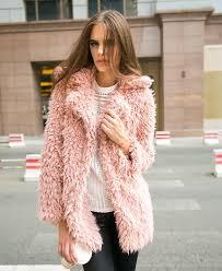 chicnova lapel collar faux fur coat