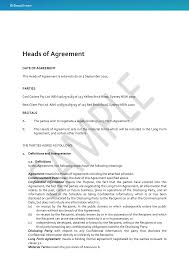 Heads Of Agreement Template Free Heads of Agreement DocuStream 1