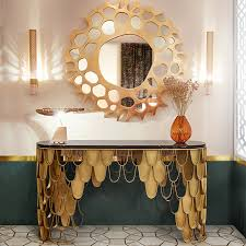 gold console table. Kira Luxury Gold Console Table