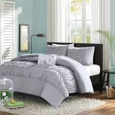 mi zone mirimar duvet cover twin twin xl size grey pleated ruched ruffles duvet cover set 3 piece ultra soft microfiber light weight bed comforter