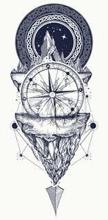 Nálepka Hory A Starožitné Kompas Tetování Umění Kompas šípy Hory A