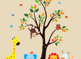 blue jungle animals and tree wall decals wall sticker outlet on jungle animal wall art with 29 animal wall decals for nursery jungle safari jungle animals huge