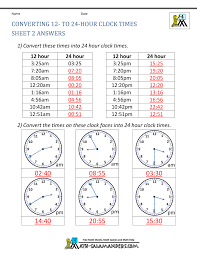 24hr Conversion Chart 24 Hour Clock Conversion Worksheets