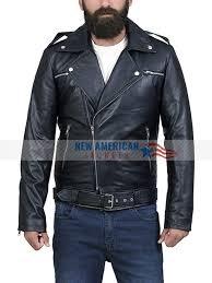 the walking dead negan black leather jacket negan motorcycle