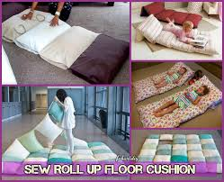 DIY Roll Up Pillow Bed Floor Cushion Tutorial