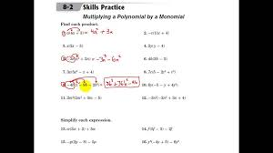 Kindergarten Glencoe Algebra 1 Multiplying A Polynomial By A ...