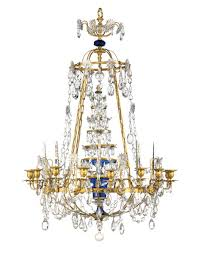 a russian ormolu and blue glass sixteen light chandelier