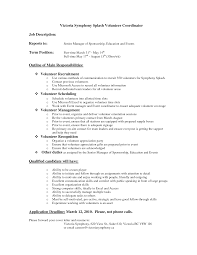 Best Photos Of Volunteer Job Descriptions For Resume Volunteer