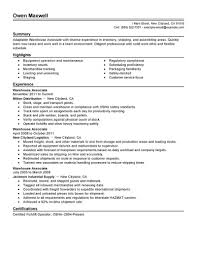 Resume Examples For Warehouse Worker Of Resumes With Associate