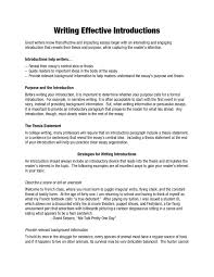 Writing Introductions Writing Effective Introductions