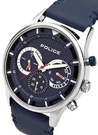 police men s quartz watch blue dial chronograph display and police men s quartz watch blue dial chronograph display and blue leather strap 14383js 03 amazon co uk watches