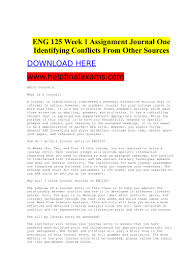 Eng 125 Week 1 Assignment Journal One Identifying Conflicts From Othe