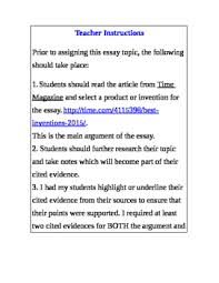 Essay About Invention Argument Essay Based On Best New Invention Or Product Of The Year
