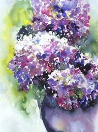 watercolor painting hydrangeas by jitka krause