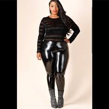 plus size faux leather leggings with size zipper