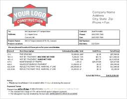 Printable Sample Construction Proposal Template Form Bid Sheet ...