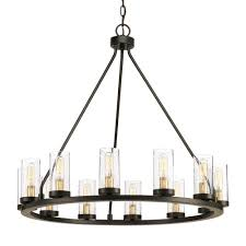 progress lighting hartwell 26 63 in 12 light antique bronze chandelier with clear seeded glass