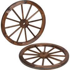 trademark innovations decorative 24 in dia vintage wood garden wagon wheel with steel rim