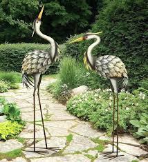 metal heron garden ornament metal crane garden sculpture grey heron pair metal garden statues
