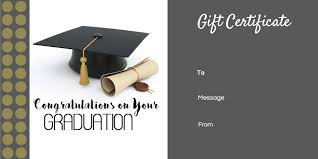 Graduation Gift Certificate Template Free Customizable