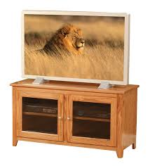 economy two glass door tv stand in oak with ocs 102 stain