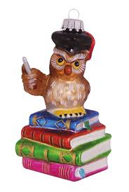Lehrer Eule Auf Bücherstapel 10cm