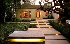 house outdoor lighting ideas. Lighting Ideas, Modern Outdoor Style With Concrete Footpath Around Green Lush Vegetation In Front House Ideas E