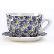 Amazon.com: Gifts & Decor Lavender Rose Teacup Saucer Flower Pot Herb  Planter: Home & Kitchen