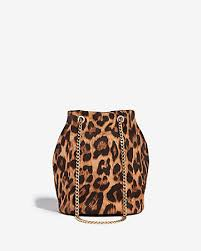 Express View · leopard chain handle bucket bag