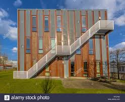 Wooden office buildings Nursery Facade Of Sustainable Wooden Office Building With Emergency Exit Escape Ladder On The Exterior Alamy Facade Of Sustainable Wooden Office Building With Emergency Exit