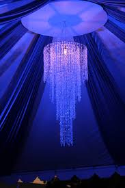 straight crystal chandelier blue swag