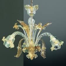 vivaldi 3 lights murano chandelier transpa gold color