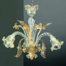 vivaldi 3 lights murano chandelier transpa gold color