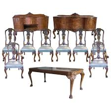 exceptional quality 1920s burr walnut queen anne style dining room suite merrow ociates dining table and eight chairs