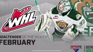 WHL] Dustin Wolf - Goaltender of the Month. 7th Rd pick of the Calgary  Flames. Posted a 9-1-0 record and 1.41GAA .939SV% in February : hockey