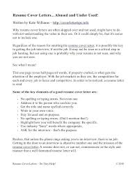 Keys To A Good Cover Letter Resume Letters Abused And Under Used