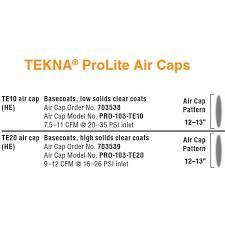 Tekna Air Cap Chart Tekna Prolite Paint Gun 1 2 1 3 1 4 Alum Cup