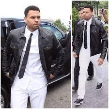 chris brown wears topman black leather western jacket to court upscalehype