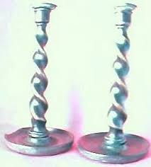 edwardian wooden barley twist brass candlesticks antique goos ruby lane
