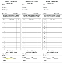 Silent Auction Bid Sheet Word Silent Auction Bid Sheet Template Word Free Sheets Google Docs
