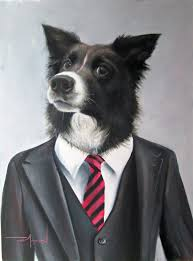 charlie sheep dog painting in a suit s