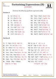 Factorising Worksheets With Answers | GCSE Factorising Worksheet PDF